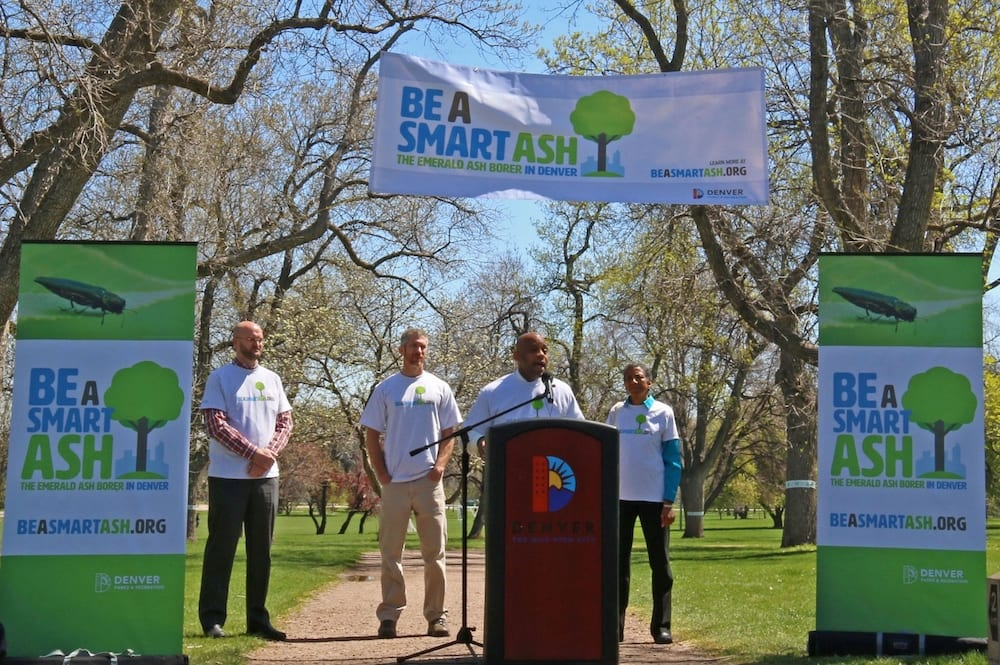 Mayor Michael Hancock Speaks About Emerald Ash Borer At City Park In Front Of Display Banners Designed By CenterTable.